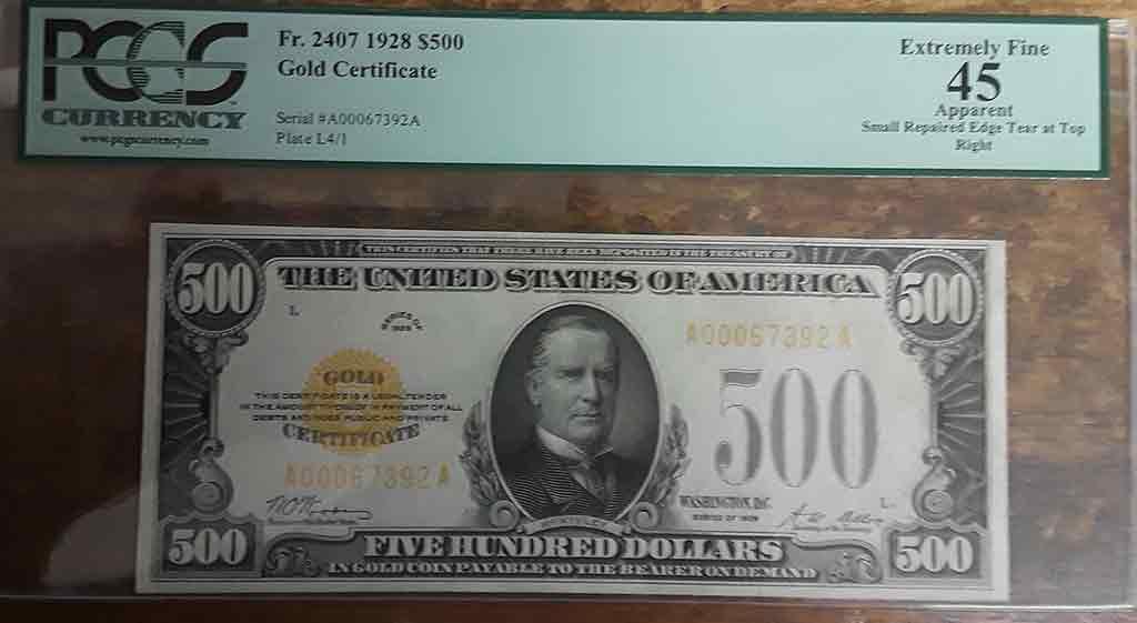 $ 500 Gold Certificate